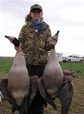 Succes on first goose hunt. She got them!!